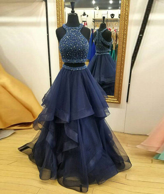 Dark blue two pieces beads long prom dress, formal dress
