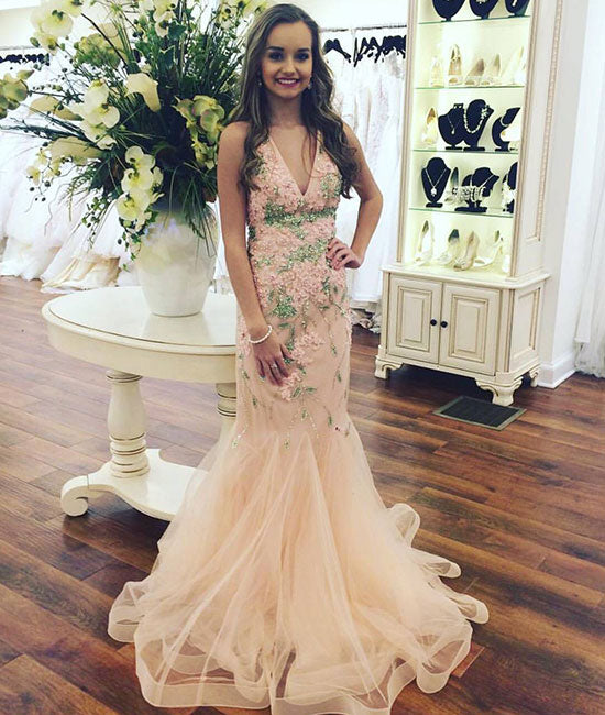 Champagne v neck tulle lace long prom dress, champagne evening dress - shdress