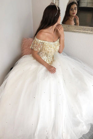 Unique off shoulder tulle long prom dress, tulle evening dress