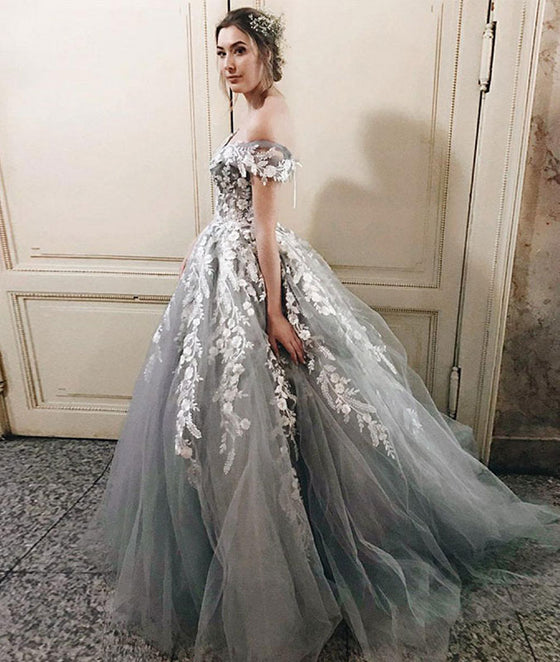 Gray tulle lace long prom dress, gray tulle lace applique long evening dress - shdress