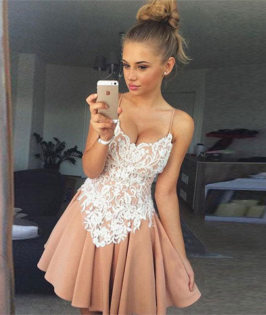 Champagne tulle lace short prom dress, champagne homecoming dress - shdress