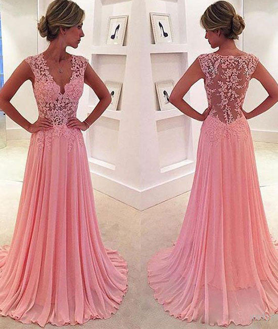 A-line v neck pink chiffon lace long prom dress, pink evening dress