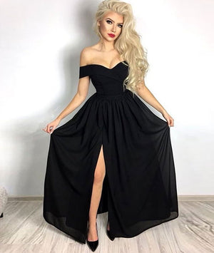 Simple sweetheart black long prom dress, black evening dress - shdress