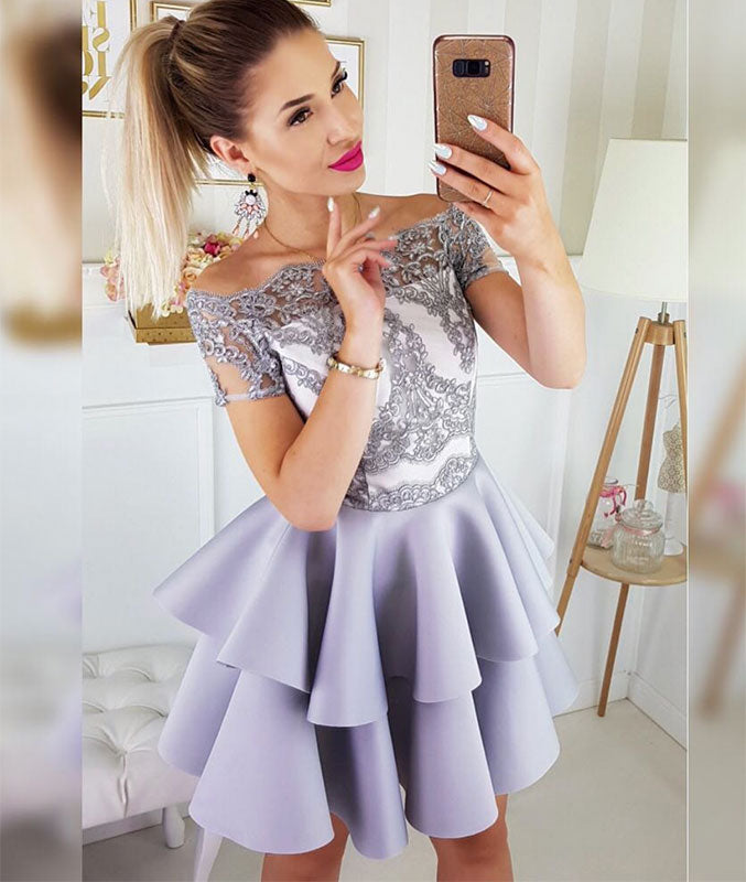 Cute lace short prom dress, cute lace short homecoming dress
