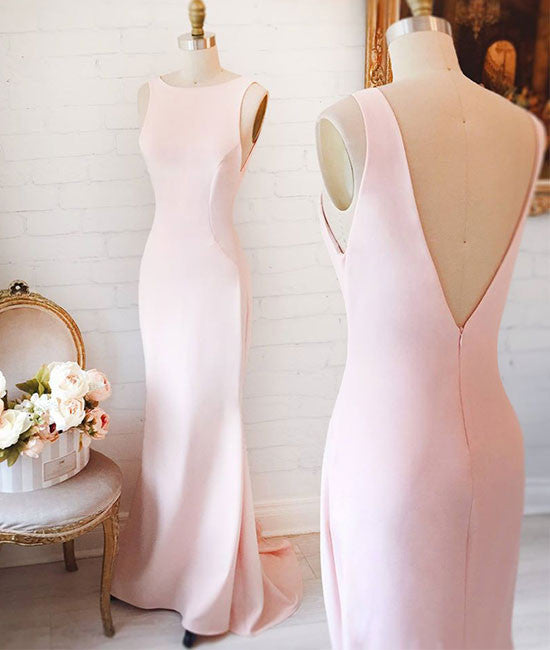 Simple pink mermaid long prom dress, pink formal dress for teens