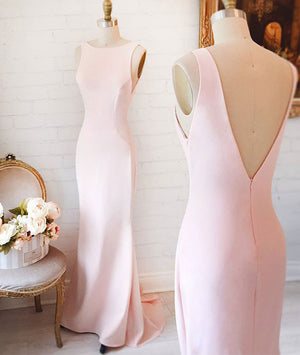 Simple pink mermaid long prom dress, pink formal dress for teens - shdress