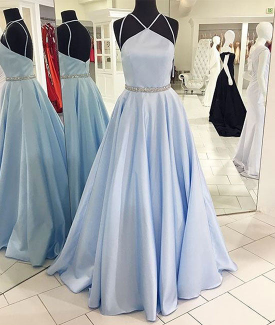 Cute Blue long prom dress, blue long formal dress - shdress