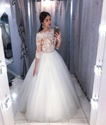 White tulle lace long prom dress, white lace evening dress