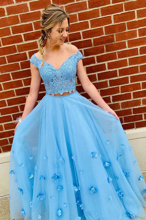 Blue tulle lace off shoulder long prom dress, tulle formal dress