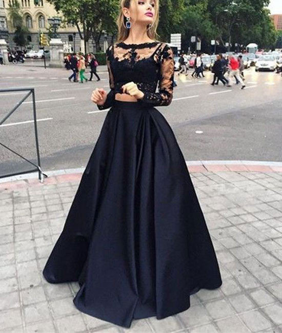 Black two pieces lace long prom dress for teens, black evening dress