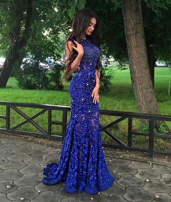 Unique Royal blue lace mermaid long prom dress, evening dress - shdress