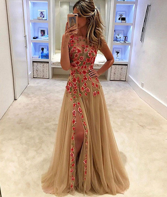 Champagne tulle applique long prom dress, evening dress for teens