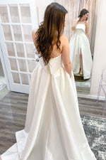 White satin long prom dress white satin evening dress
