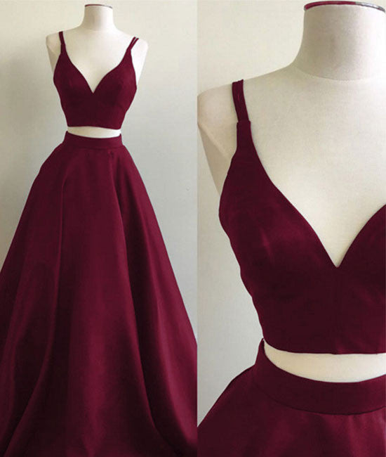 Simple two pieces burgundy long prom dress, burgundy evening dress - shdress