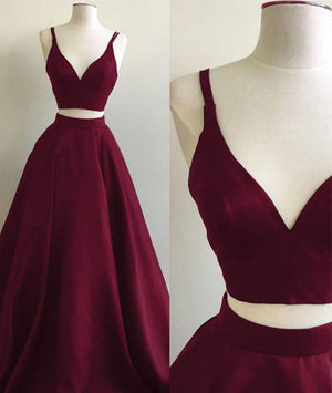 0e469a5b9fbb Simple two pieces burgundy long prom dress, burgundy evening dress - shdress