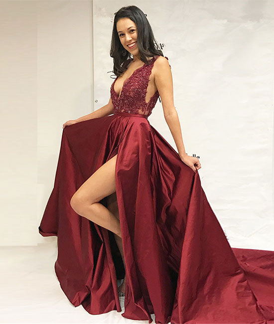 Burgundy v neck lace applique long prom dress, burgundy evening dress