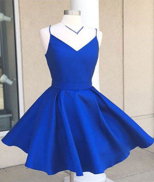 aebfc136c7d94 Simple v neck blue short prom dress. cute homecoming dress - shdress