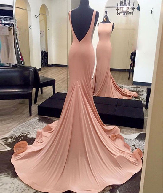 Simple backless mermaid pink prom dress for teens, pink evening dress