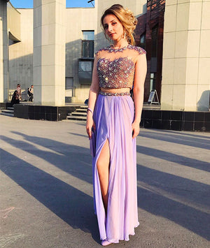 Elegant purple two pieces long prom dress, purple evening dress - shdress