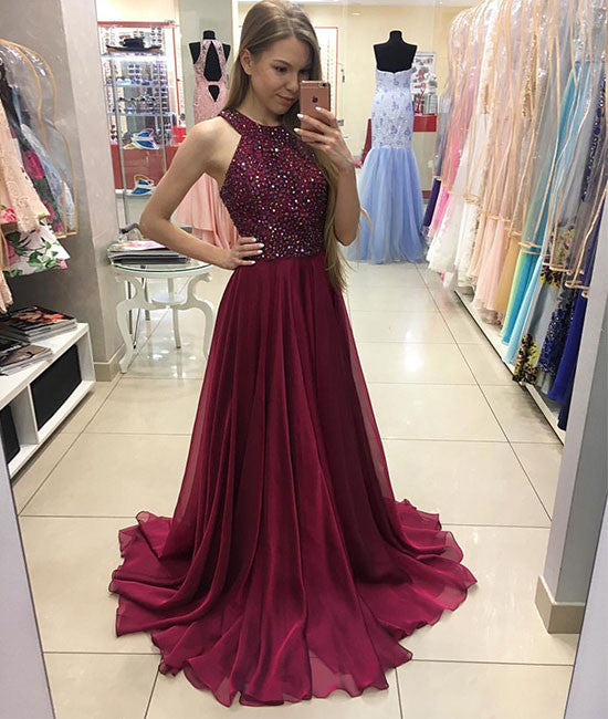 burgundy chiffon long prom dress, burgundy evening dress - shdress