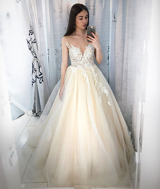 Champagne round neck tulle lace applique long prom dress, champagne evening