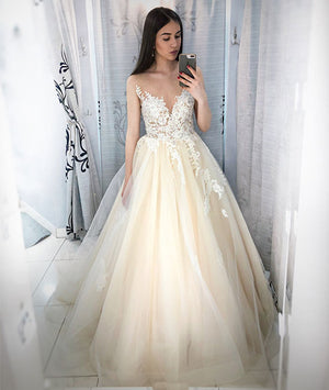 Champagne round neck tulle lace applique long prom dress, champagne evening - shdress