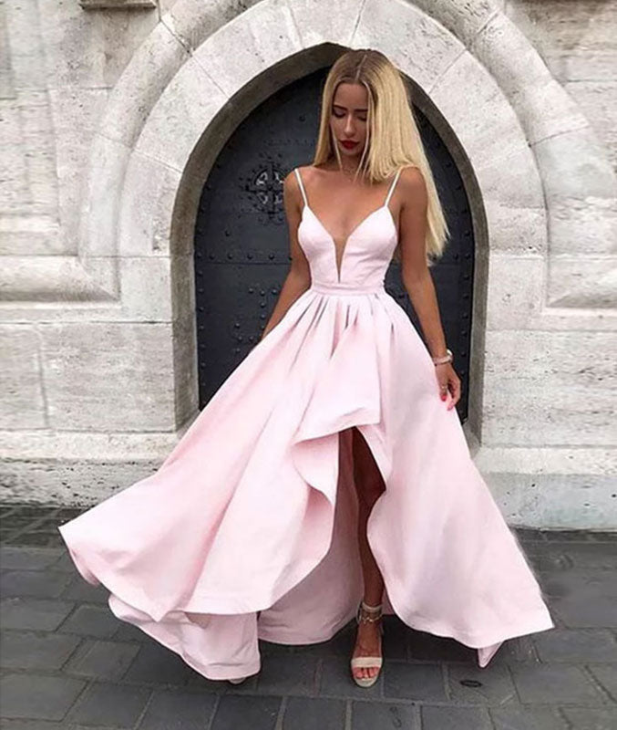 Pink v neck satin long prom dress, pink evening dress