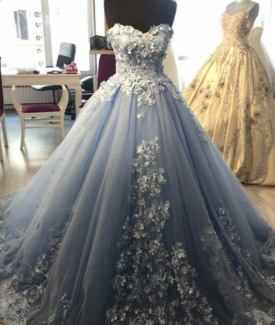 Blue sweetheart neck tulle lace applique long prom dress, blue evening dress - shdress