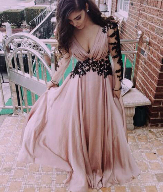 Unique Sweetheart Chiffon long lace prom dress, evening dress - shdress