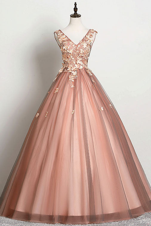 Pink v neck tulle lace long prom dress pink tulle formal dress