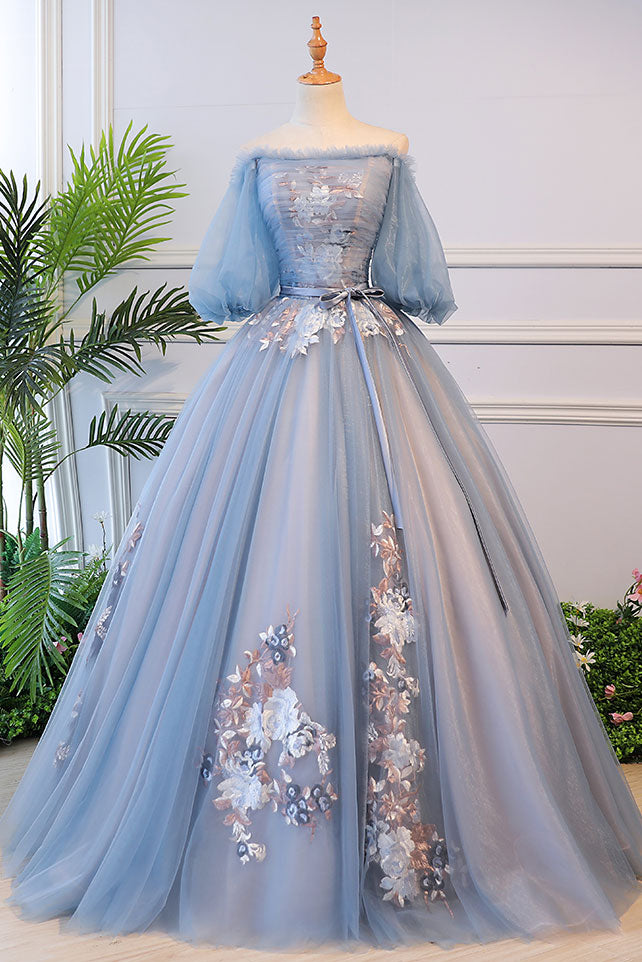 Unique blue tulle lace long prom dress, blue evening dress