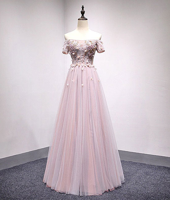 Light pink tulle lace applique long prom dress, tulle evening dress