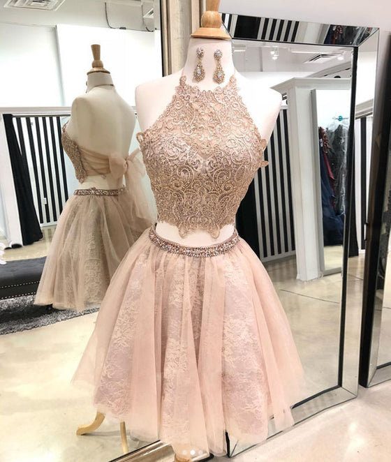 Cute champagne tulle lace short prom dress, homecoming dress
