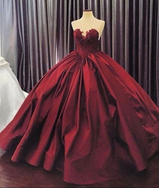 Sweetheart neck burgundy long prom gown, burgundy evening gown