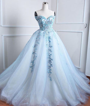 Light blue tulle lace applique long prom dress, blue evening dress - shdress