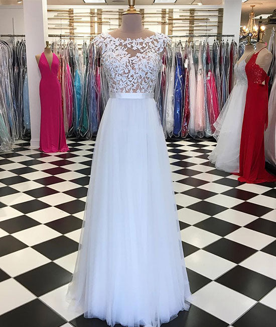 White lace applique tulle long prom dress, white evening dress