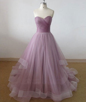 Cute sweetheart tulle long prom dress, evening dress - shdress