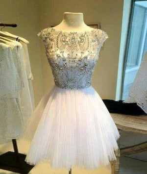 White Sequin Rhinestone Short Prom Dresses, Cute Homecoming Dress - shdress