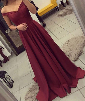 Burgundy off shoulder long prom dress, burgundy evening dress - shdress