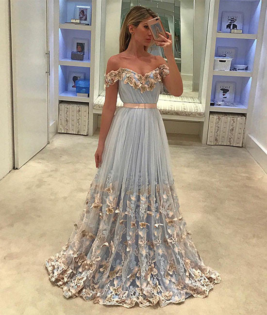 Unique tulle light blue long prom dress, tulle evening dress
