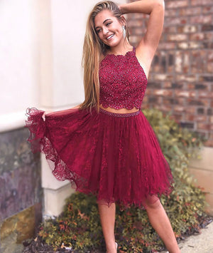 Burgundy lace two pieces short prom dress, burgundy lace homecoming dress - shdress