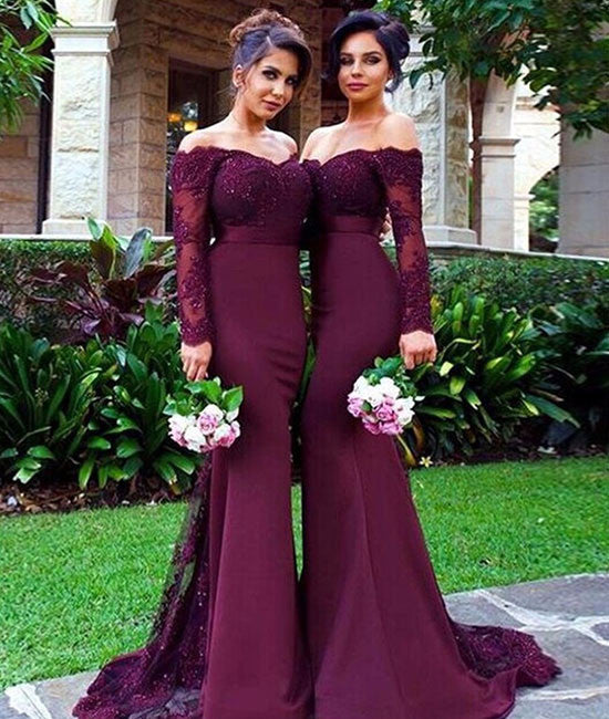 Unique maroon lace mermaid long prom dress, burgundy bridesmaid dress