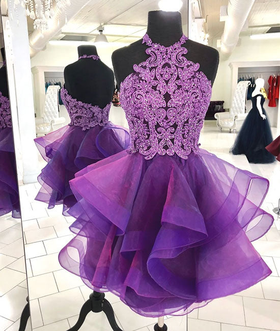 Cute purple tulle lace short prom dress, purple homecoming dress - shdress