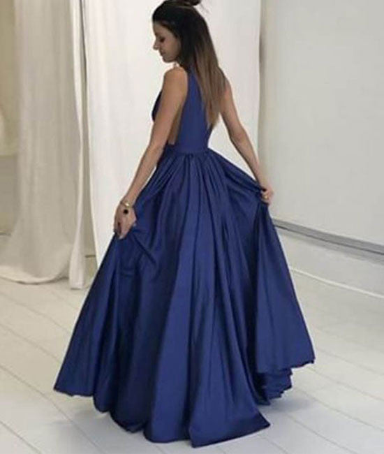 Simple v neck dark blue long prom dress, evening dress