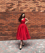Simple red tea Length prom dress, red evening dress