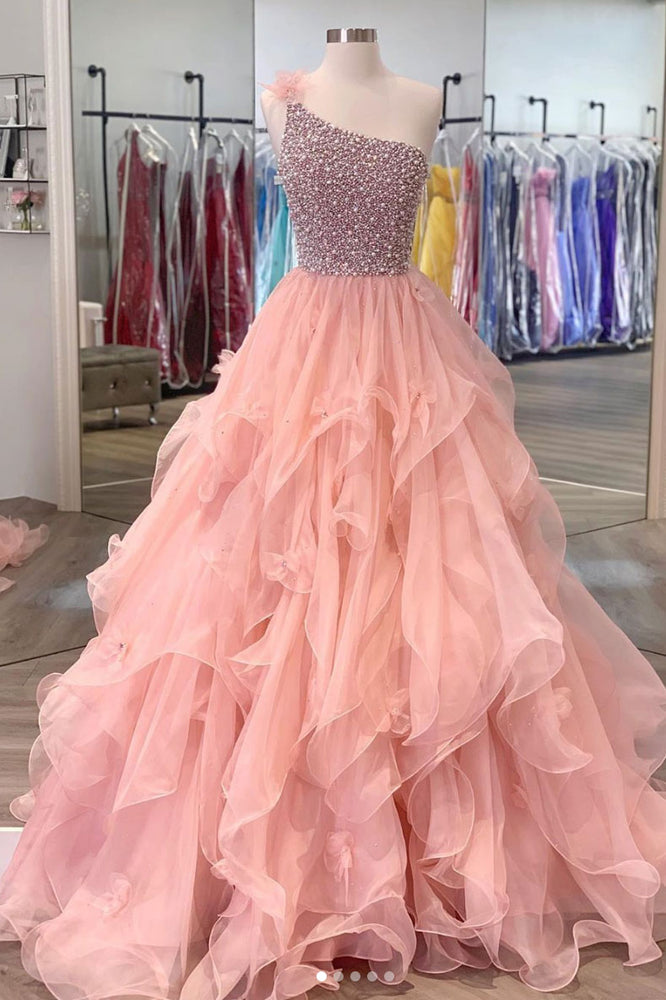 Pink one shoulder beads long prom dress pink evening dress