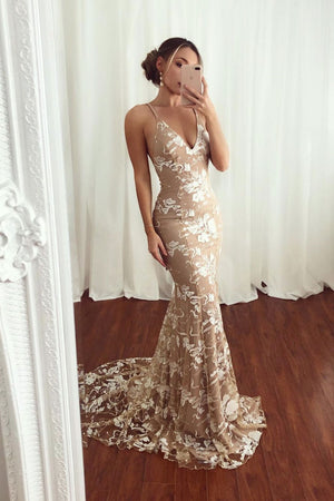 Champagne lace mermaid long prom dress, champagne long evening dress
