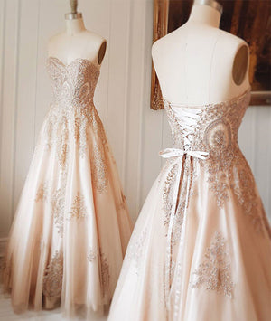 champagne sweetheart lace applique long prom dress, champagne evening dress - shdress