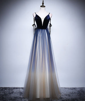 Dark blue tulle long prom dress, blue evening dress - shdress