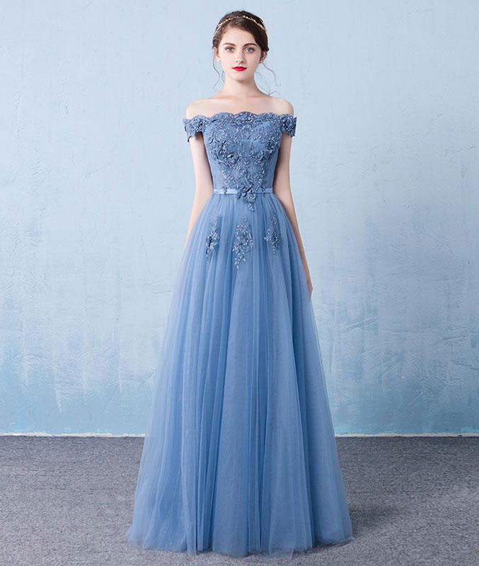 Elegant tulle lace applique long prom dress, blue evening dress